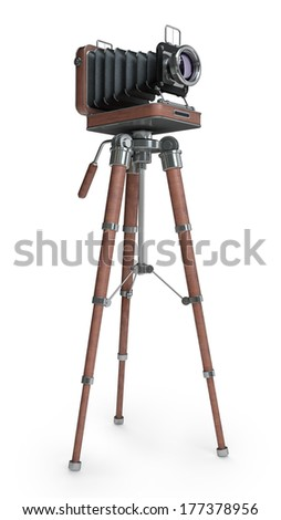 Classic Retro Camera in Wooden case isolated on white background High resolution 3d