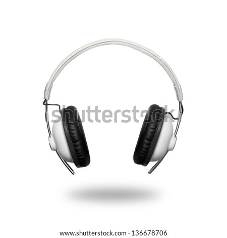 Classic retro headphone isolated on white background - stock photo