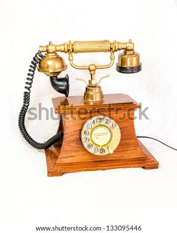Classic Retro Phone - Vintage Telephone isolated - stock photo