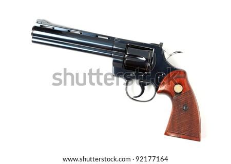 classic revolver, cowboy style isolated. - stock photo