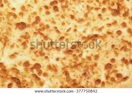 Classic Round Cheese Pie With Brownish Crust Or Italian Quatro Formaggi  Pizza Or Georgian Khachapuri Isolated  On White Background, Top View