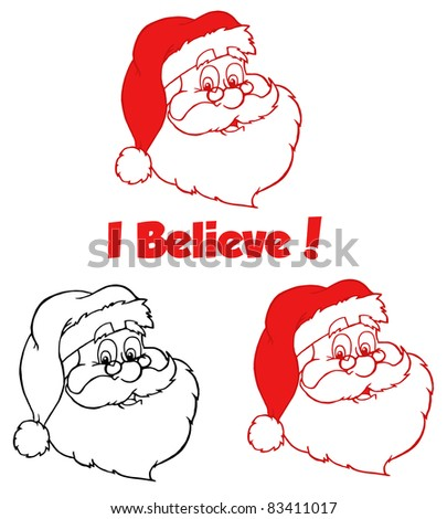 Classic Santa Head.Raster Collection.Vector version is also available - stock photo