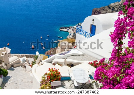 Classic Santorini scene , Greece - stock photo