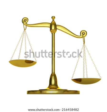 classic scales of gold metal on a white background - stock photo