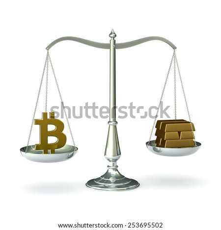 Classic scales of justice with bitcoin symbol and gold bars, isolated on white background