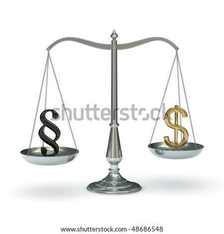 classic scales of justice with paragraph and dollar symbols,  isolated on white background