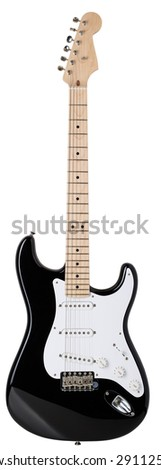 Classic shape black and white electric guitar with wooden maple neck isolated on white with clipping path. Musical instruments shop or school concept. High resolution panorama - stock photo