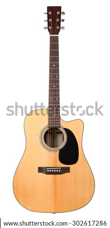 Classic shape western acoustic guitar isolated white background with clipping path. Musical instruments shop or learning school concept - stock photo
