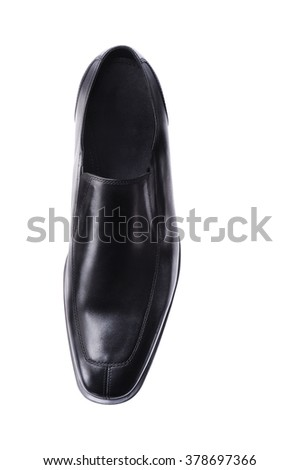 Classic Shiny Black Leather Men Shoes  ,Accessories isolated on white , front view - stock photo