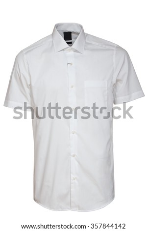 classic short sleeve white shirt - stock photo
