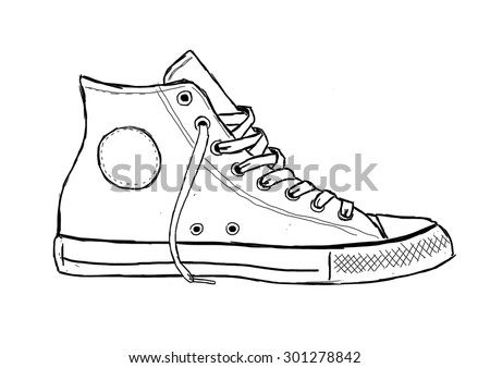 Classic Sneaker Sketched - stock photo