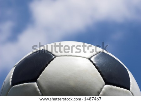 Classic soccer ball with sky background