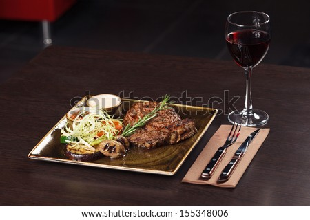 Classic Steak and red wine dinner - stock photo