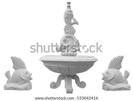 Classic stone fountain basin isolated on white background