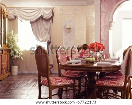 classic style dinner room interior (3d rendering) - stock photo