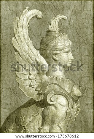 Classic style statue Close Up in grunge texture warm background. - stock photo