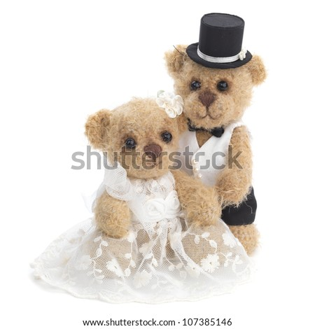 Classic teddy bear gentleman and his bride