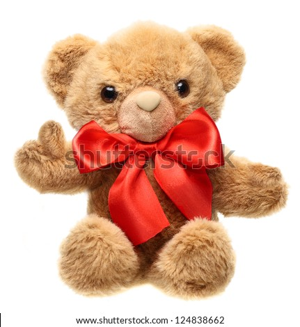 Classic teddy bear with red bow with  thump up isolated on white background - stock photo