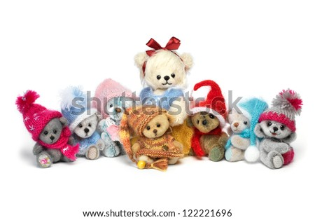 classic teddy bears family in holiday wear - stock photo
