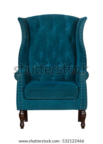 Classic textile blue chair isolated on white background