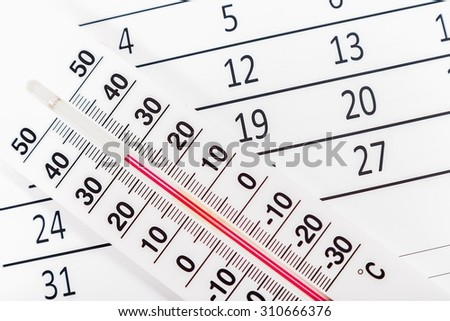 Classic thermometer sitting on a calendar sheet
