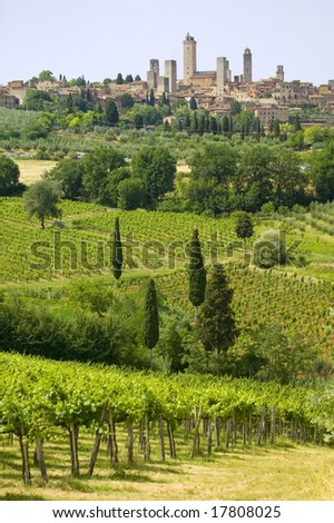 Classic Tuscany Village - San Gimignano - stock photo