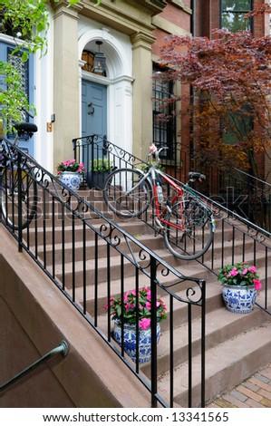 Classic urban lifestyle in Back Bay, Boston - stock photo