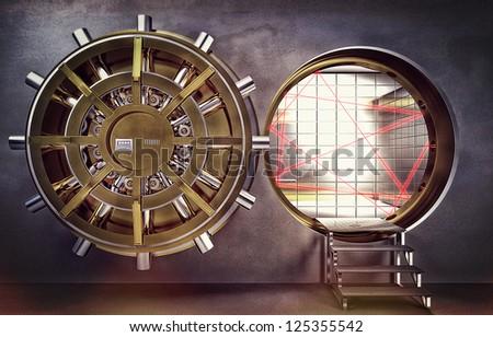 classic vault 3d golden colors - stock photo