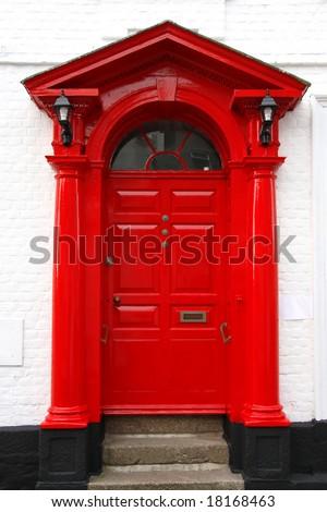 classic victorian door in UK - stock photo