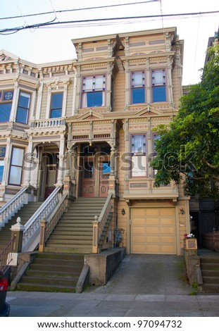 Classic victorian house in San Francisco - stock photo