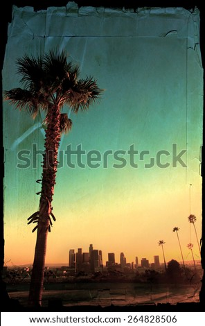 Classic view of downtown Los Angeles, California. - stock photo