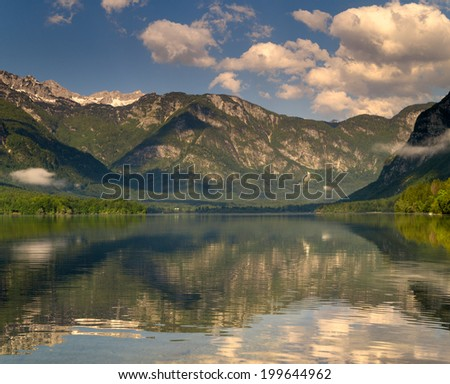 classic view on mountain lake Bohinj, Slovenia's Alps