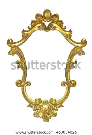 Classic vintage Antique gilded frame isolated on black background with Clipping Path.