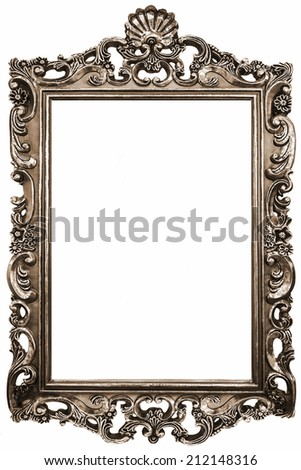 Classic vintage Antique gilded frame isolated on white background with Clipping Path.  - stock photo