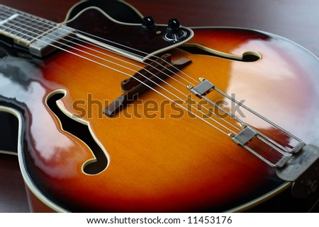 Classic vintage hollow body electric guitar - stock photo