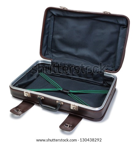 Classic vintage leather suitcase. In the open state. - stock photo