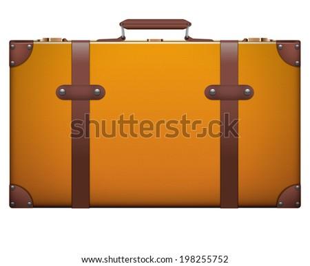 Classic vintage luggage suitcase for travel. Isolated on white background. Bitmap copy. - stock photo