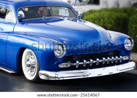 Classic vintage restored hot rod low rider car - stock photo