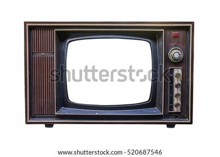 Classic Vintage Retro Style old  television with cut out screen on  isolated background.