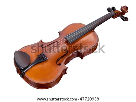classic violin isolated on a white background - stock photo