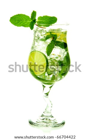 Classic Virgin Mojito summer drink without  alcohol with lime, spring of mint, sprite soda and syrup in cocktail glass isolated on a white background - stock photo