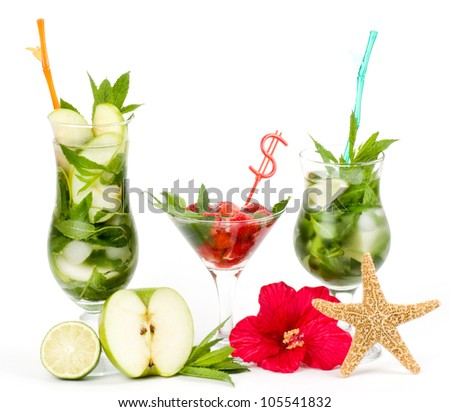 Classic Virgin Mojito summer set with apple? lime and strawberry on a white background - stock photo