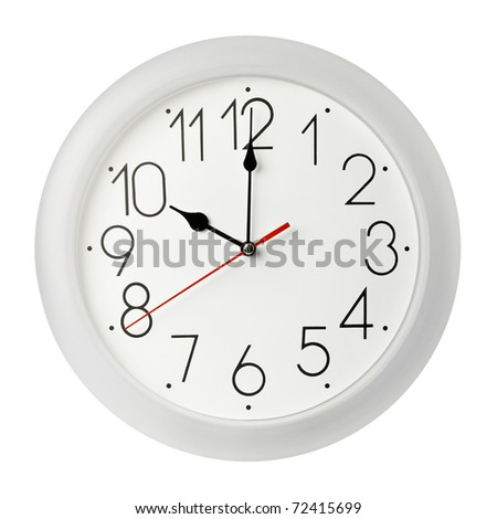 Classic wall clock , isolated on white - stock photo