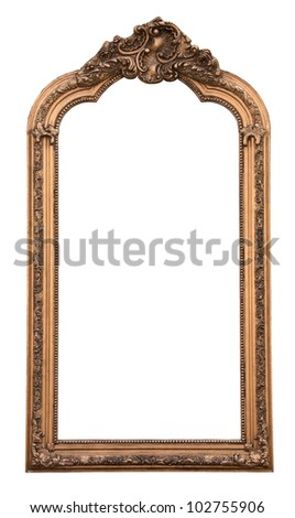 classic wall mirror, isolated on white background - stock photo