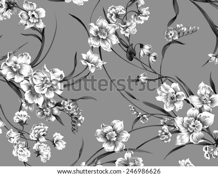 classic wallpaper seamless vintage flower pattern on grey background - stock photo