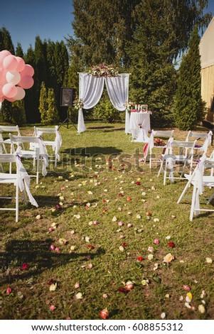 Classic Wedding Decor Stock Photo Royalty Free 608855312