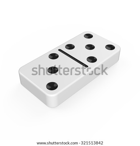 Classic white domino tile with black dots - stock photo