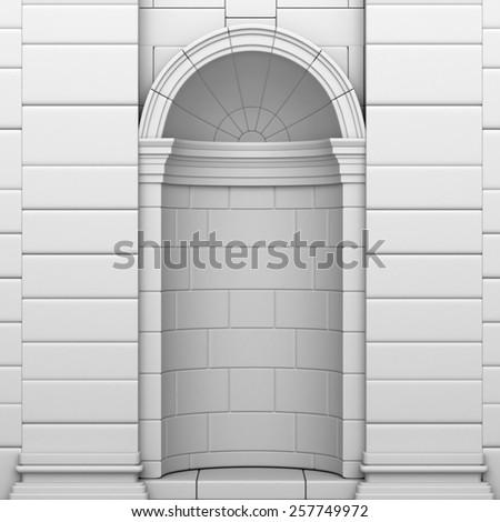 Classic White Empty Niche In a Brick Wall - stock photo