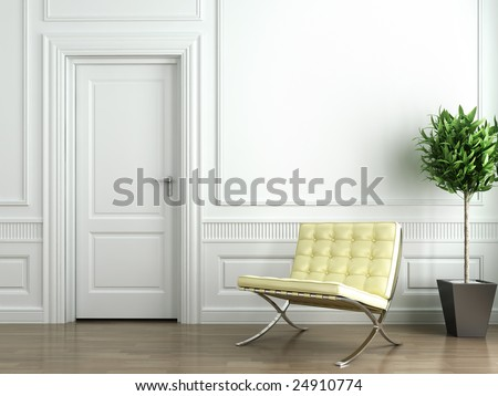 Classic white interior with barcelona chair and plant - stock photo