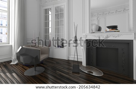 Classic white living room interior with modern black armchair - stock photo